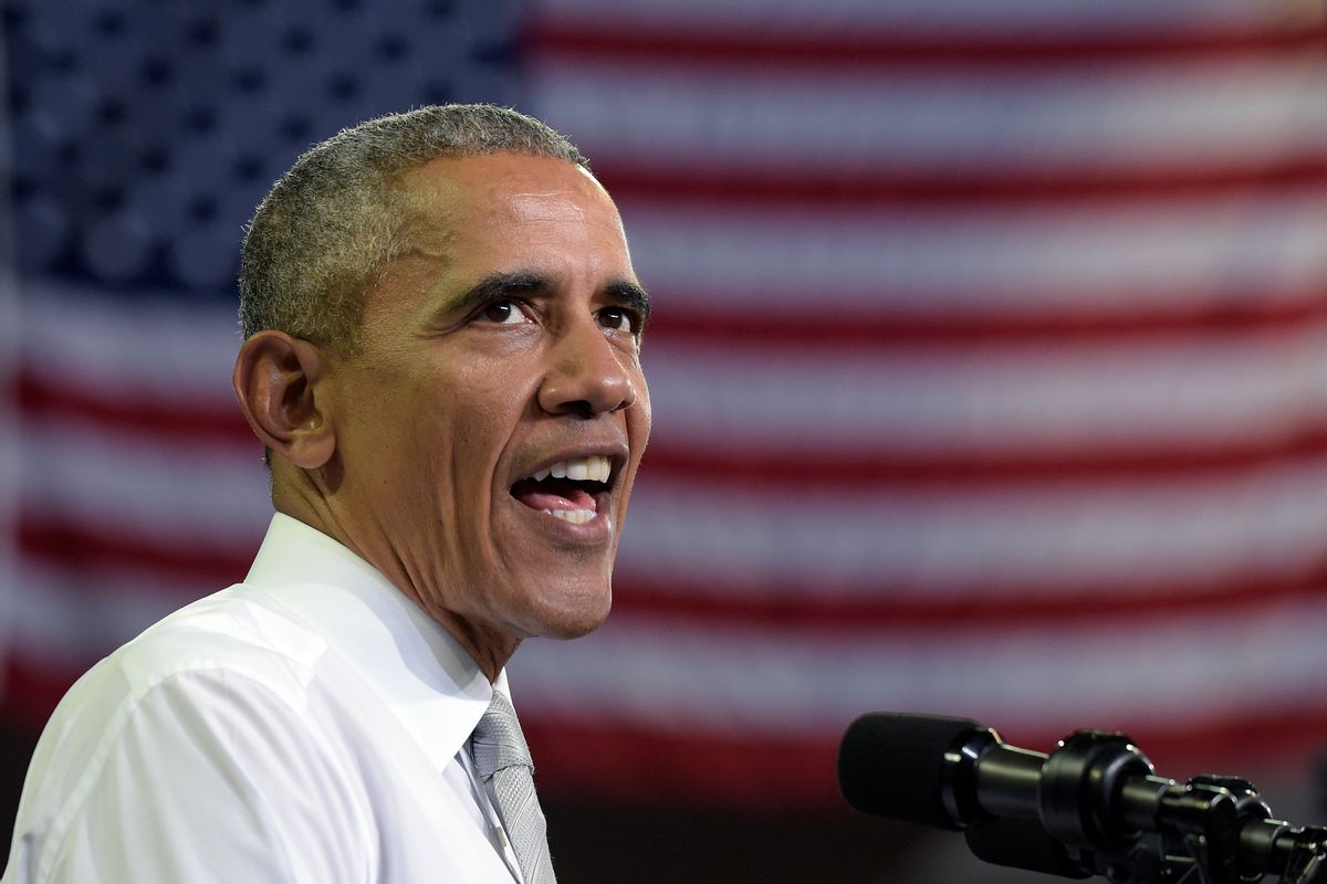 In this Oct. 28, 2016, photo, President Barack Obama speaks during a campaign event for Democratic presidential candidate Hillary Clinton in Orlando, Fla. The latest clamor over Clinton's emails has put Obama in a spot where no president wants to be: caught between his attorney general, his FBI director and his preferred White House successor. (AP Photo/Susan Walsh) (AP)