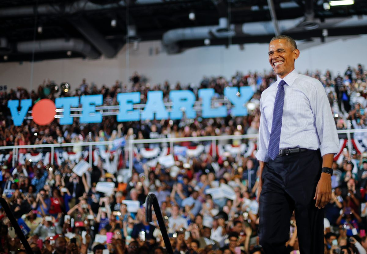 President Barack Obama smiles as he arrives to speak at a campaign rally for Democratic presidential candidate Hillary Clinton, Thursday, Nov. 3, 2016, at the University of North Florida in Jacksonville, Fla.   (AP)