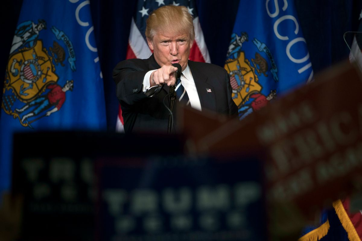 Republican presidential candidate Donald Trump gestures during a campaign rally at the University of Wisconsin Eau Claire, Tuesday, Nov. 1, 2016, in Eau Claire, Wis.(AP Photo/Matt Rourke) (AP)