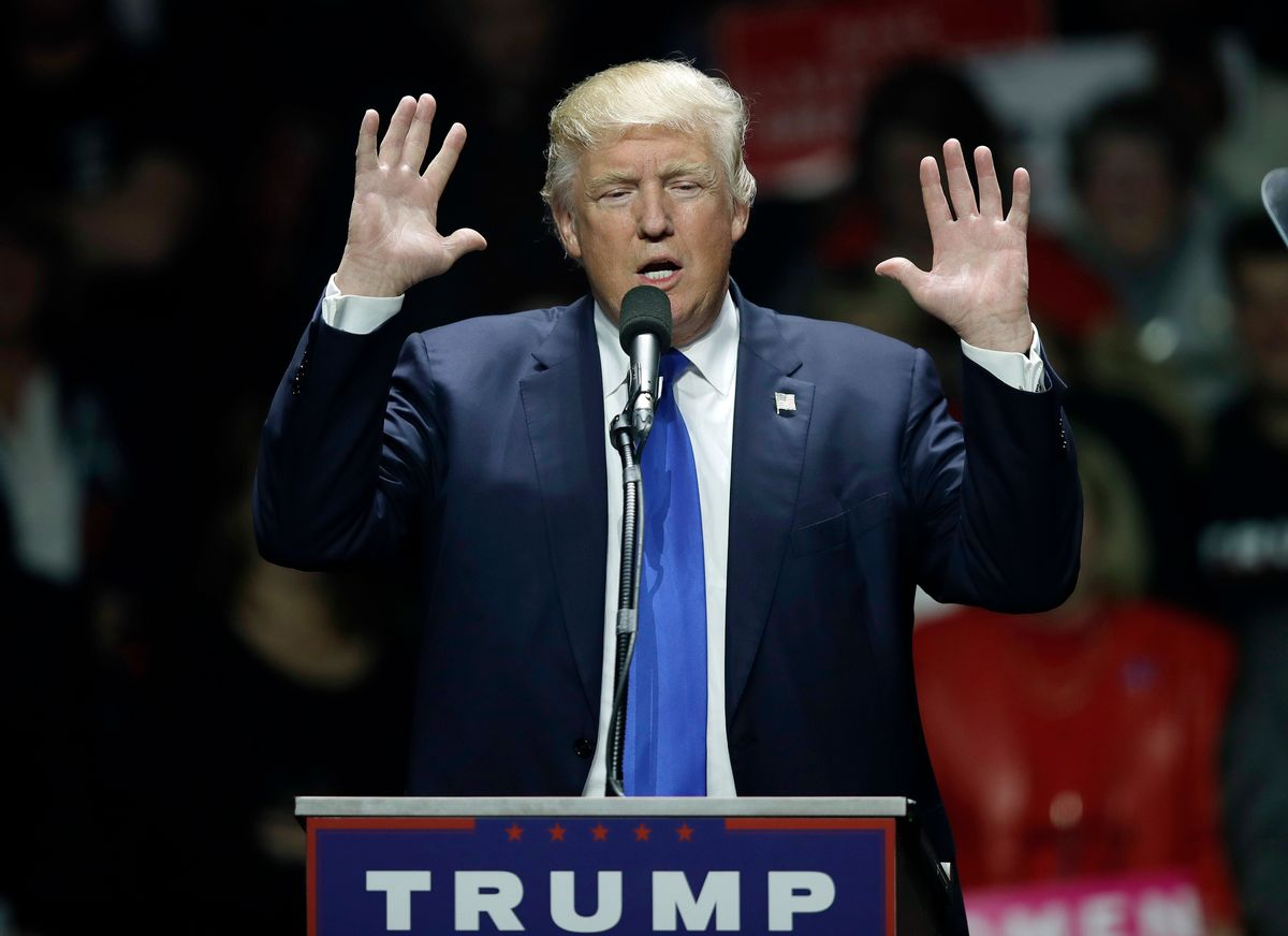 Republican presidential candidate Donald Trump speaks to a campaign rally, Monday, Nov. 7, 2016, in Manchester, N.H. (AP Photo/Charles Krupa) (AP)