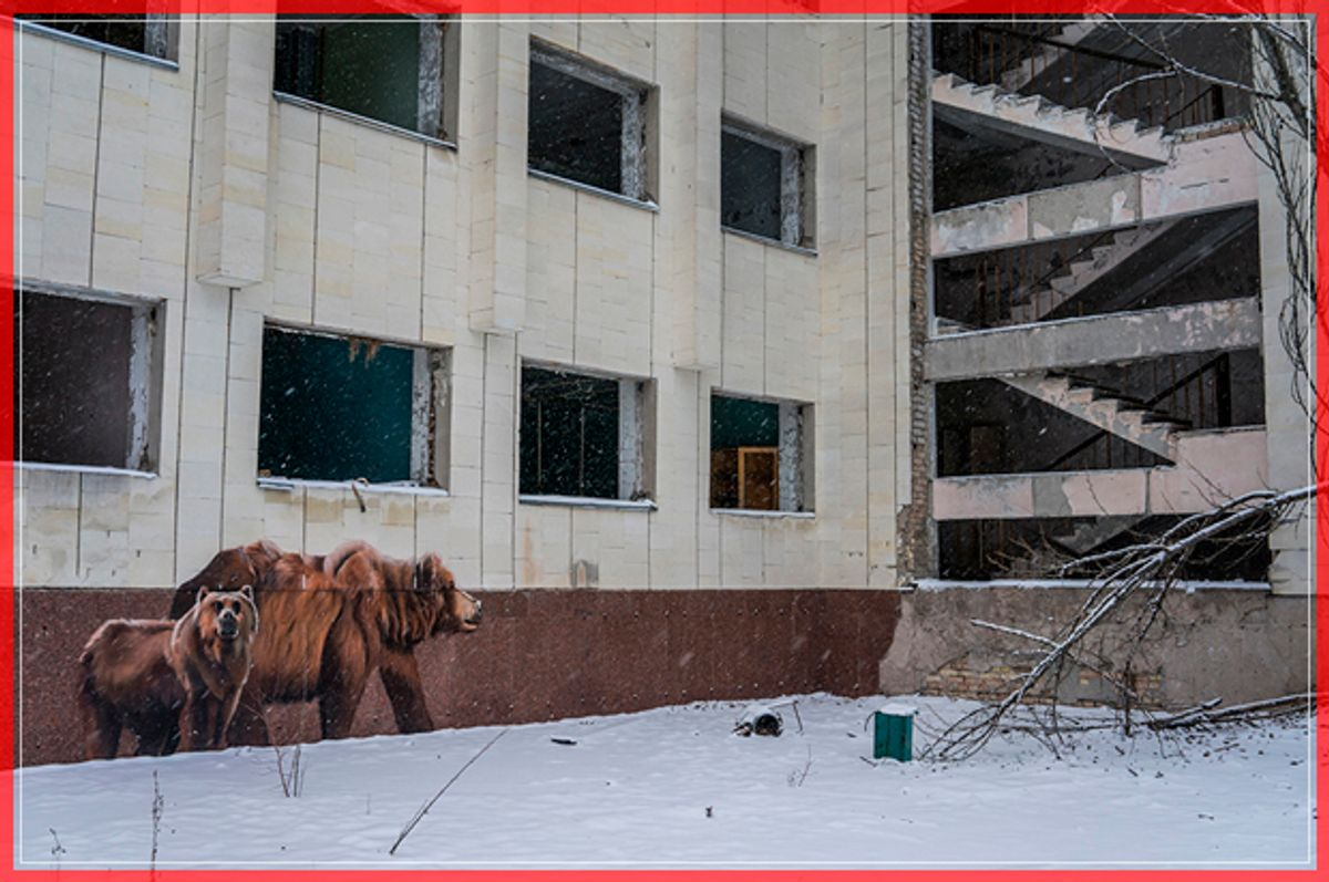 PRIPYAT, UKRAINE - NOVEMBER 29: Graffiti on a building on the main square in the town of Pripyat, which was abandoned following the Chernobyl nuclear accident, on November 29, 2016 in Pripyat, Ukraine. On April 26, 1986 workers at the Chernobyl nuclear power plant inadvertantly caused a meltdown in reactor number four, causing it to explode and send a toxic cocktail of radioactive fallout into the atmosphere in the world's worst civilian nuclear incident. More than thirty years later, the New Safe Confinement sarcophagus has been constructed and slid into place over the old reactor, an event being marked today by a ceremony including Ukraine's president. (Photo by Brendan Hoffman/Getty Images) (Getty Images)