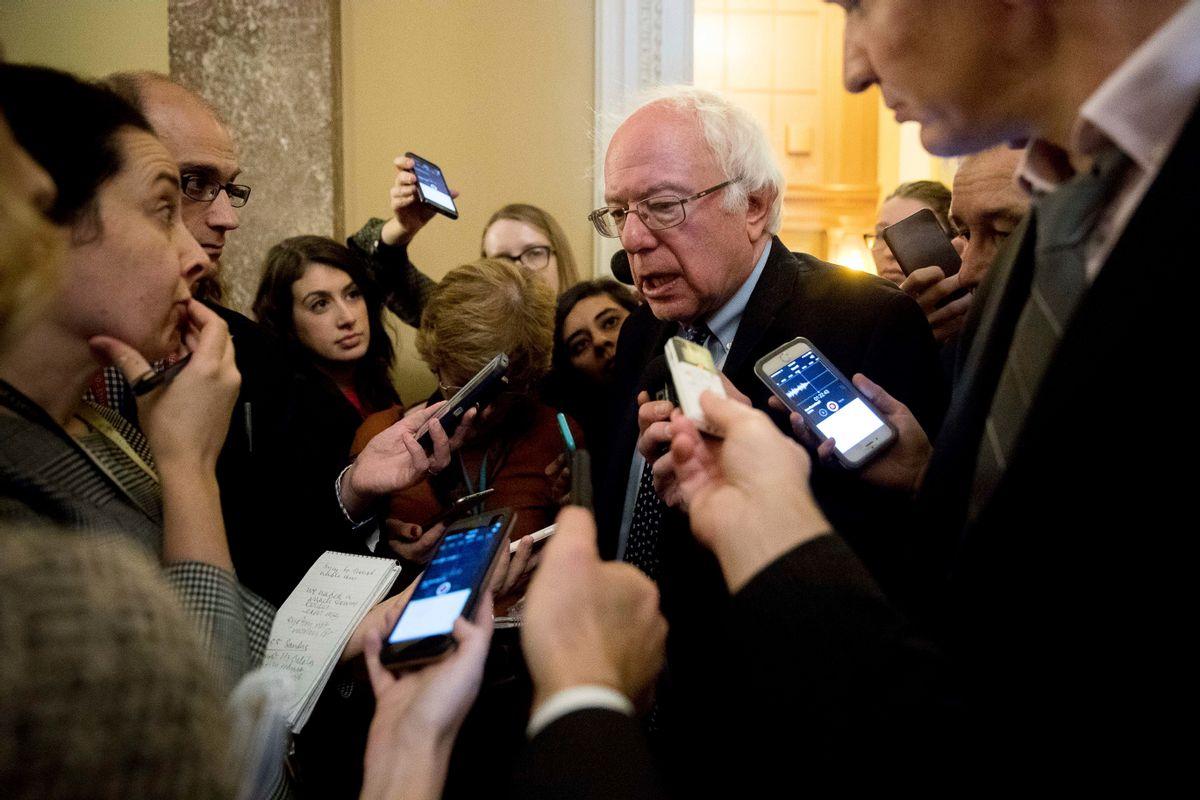 Sen. Bernie Sanders, I-Vt., speaks to reporters on Capitol Hill in Washington, Wednesday, Nov. 16, 2016. (AP)