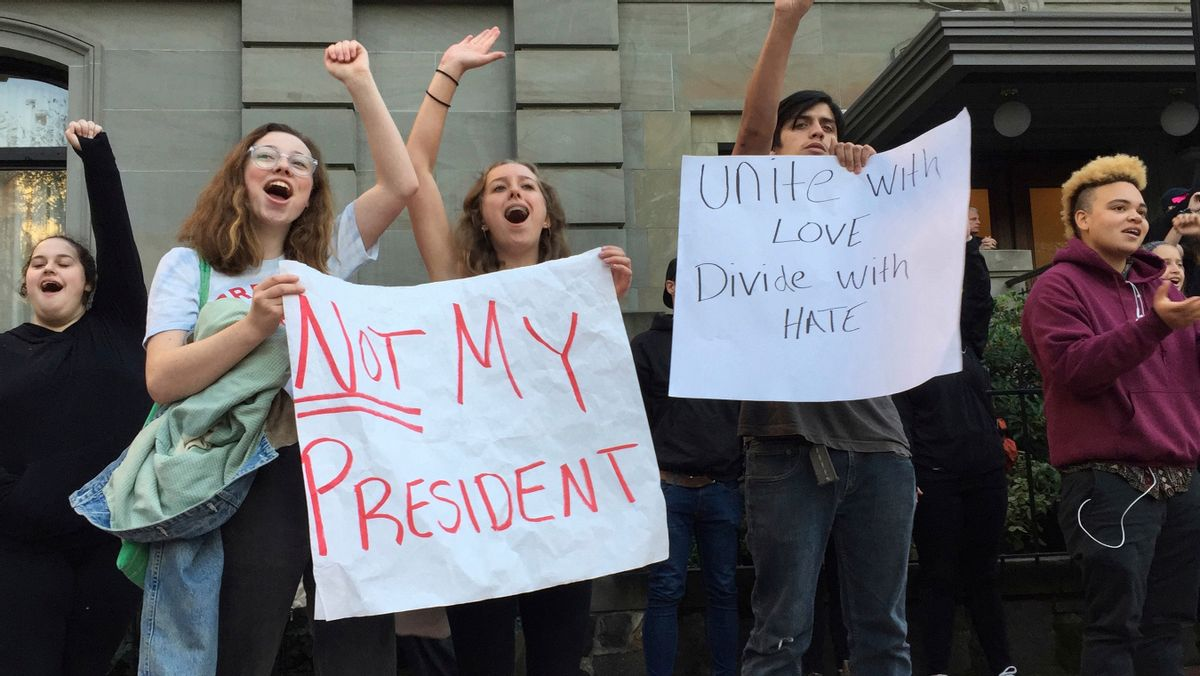 Several dozen students from various high schools in the Portland, Ore., metropolitan area gather downtown to protest Republican nominee Donald Trump's victory in Tuesday's presidential election, Wednesday, Nov. 9, 2016. The protests were peaceful and students said that they felt compelled to demonstrate against Trump because they were not old enough to vote. (AP Photo/Gillian Flaccus) (AP)