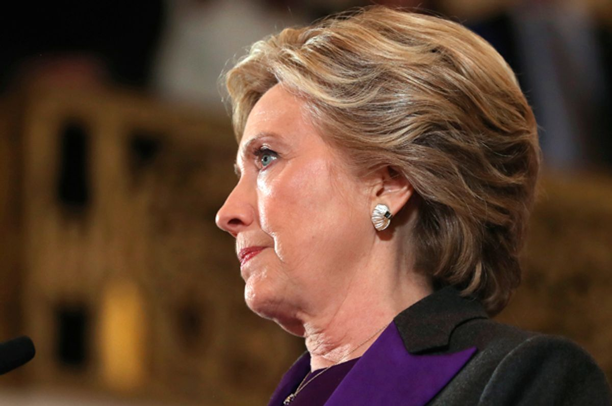 Hillary Clinton concedes the presidential election at the New Yorker Hotel on November 9, 2016 in New York City.   (Getty/Justin Sullivan)