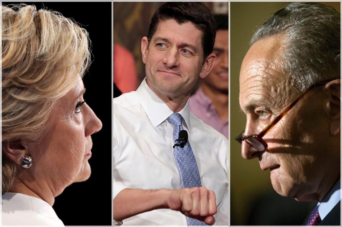 Hillary Clinton; Paul Ryan; Chuck Schumer   (Getty/Joe Raedle/Reuters/Yuri Gripas/AP/J. Scott Applewhite)