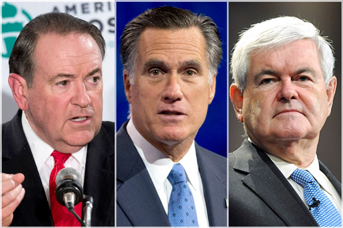 Mike Huckabee; Mitt Romney; Newt Gingrich   (AP/Reuters/Lucas Jackson/Manuel Balce Ceneta/Tami Chappell)