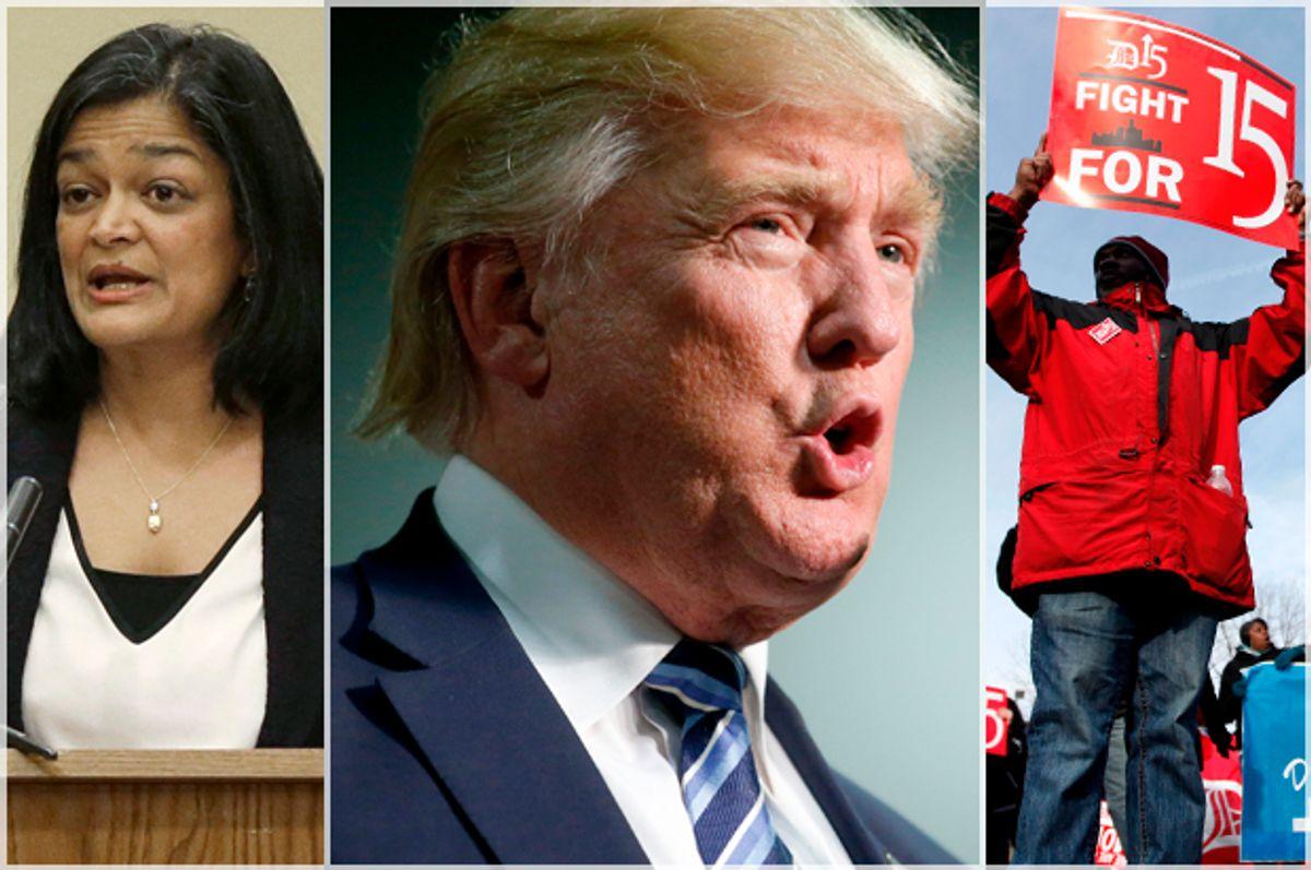 Pramila Jayapal; Donald Trump; Minimum Wage Protester   (AP/Ted S. Warren/Getty Brian Blanco/AP/Paul Sancya)