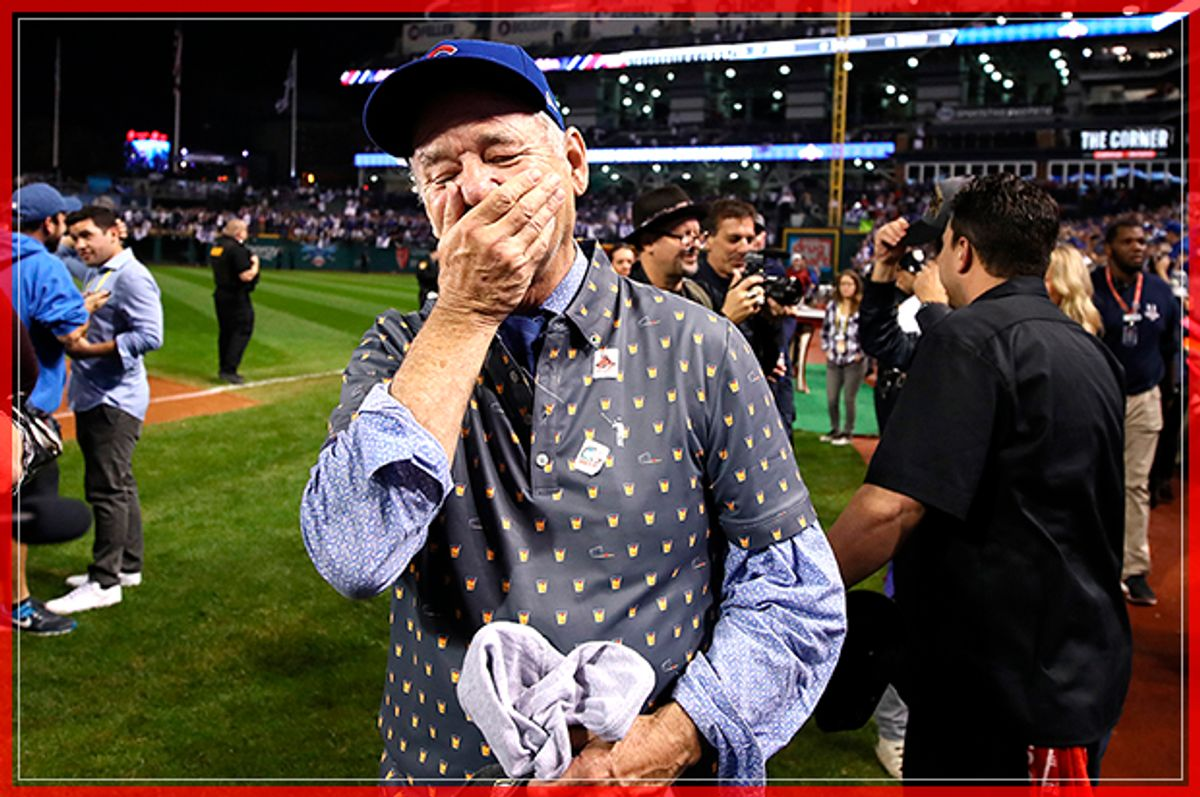 CLEVELAND, OH - NOVEMBER 02:  Actor Bill Murray reacts on the field after the Chicago Cubs defeated the Cleveland Indians 8-7 in Game Seven of the 2016 World Series at Progressive Field on November 2, 2016 in Cleveland, Ohio. The Cubs win their first World Series in 108 years.  (Photo by Ezra Shaw/Getty Images) (Getty Images)