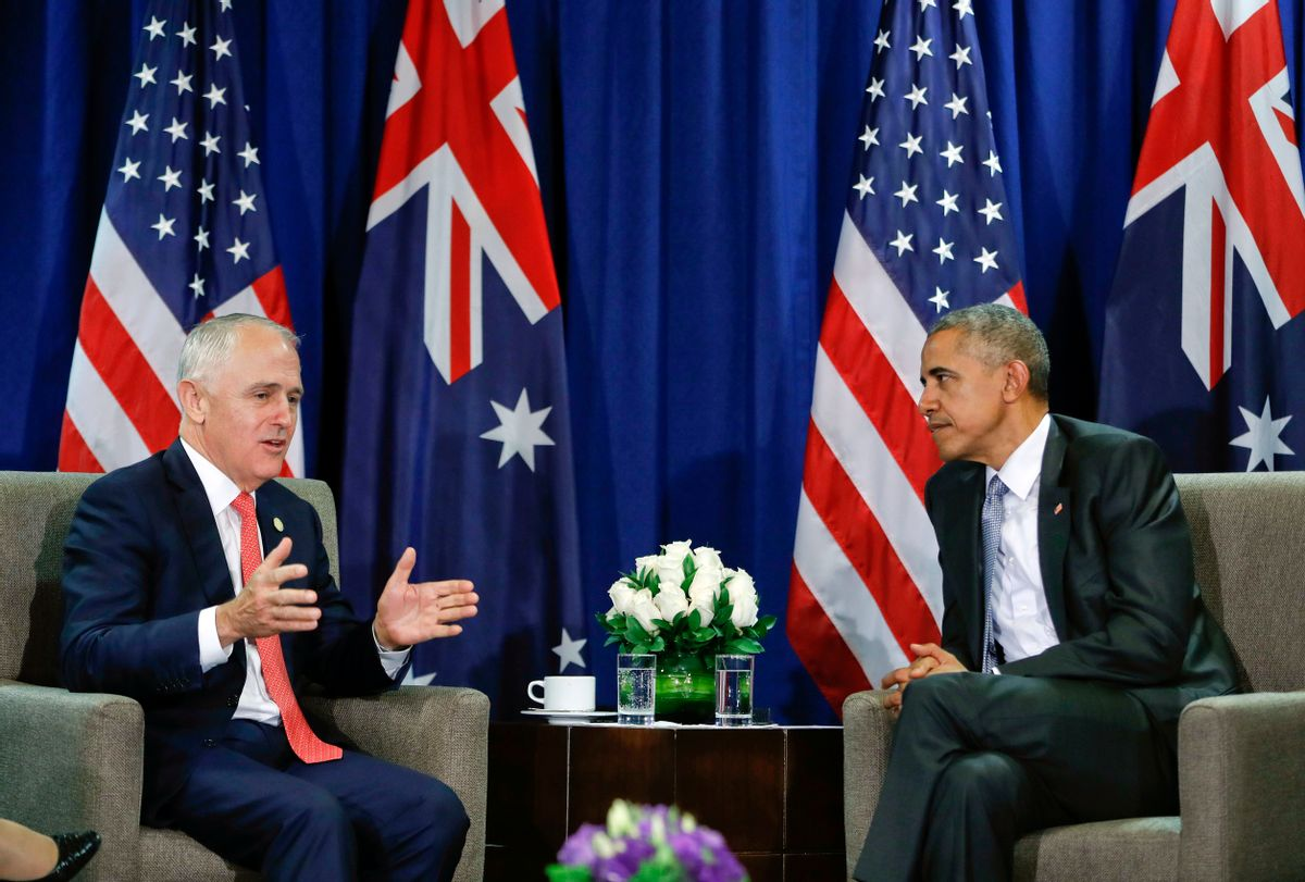 U.S. President Barack Obama, right, listens to Australia's Prime Minister Malcolm Turnbull during their meeting at the Asia-Pacific Economic Cooperation (APEC), in Lima, Peru. (AP)