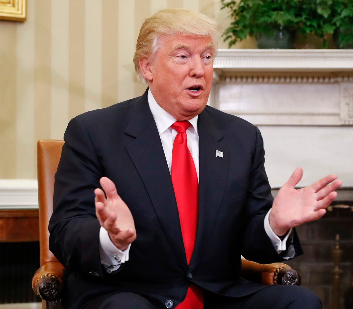 President-elect Donald Trump speaks during his meeting with President Barack Obama in the Oval Office of the White House in Washington, Thursday, Nov. 10, 2016. (AP)