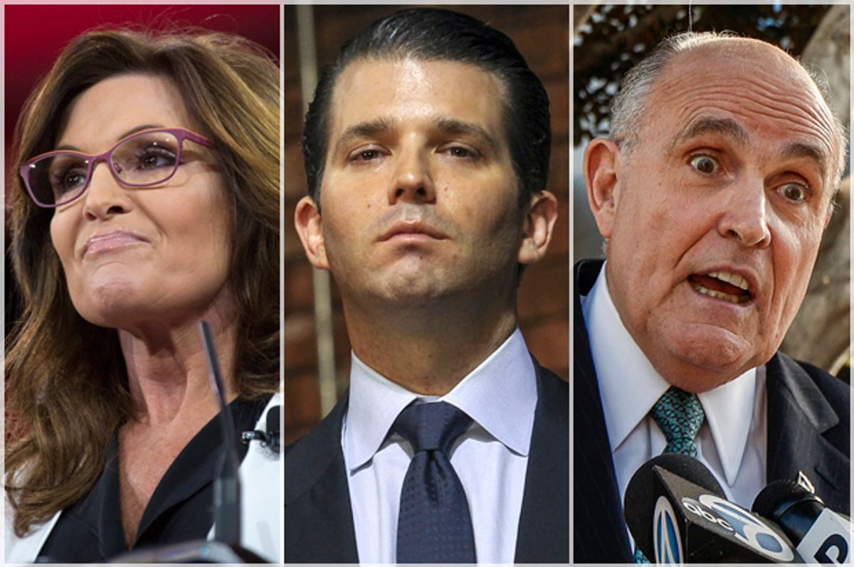 Sarah Palin; Donald Trump, Jr.; Rudy Giuliani   (Jeff Malet, maletphoto.com/AP/Cheryl Senter/Damian Dovarganes)