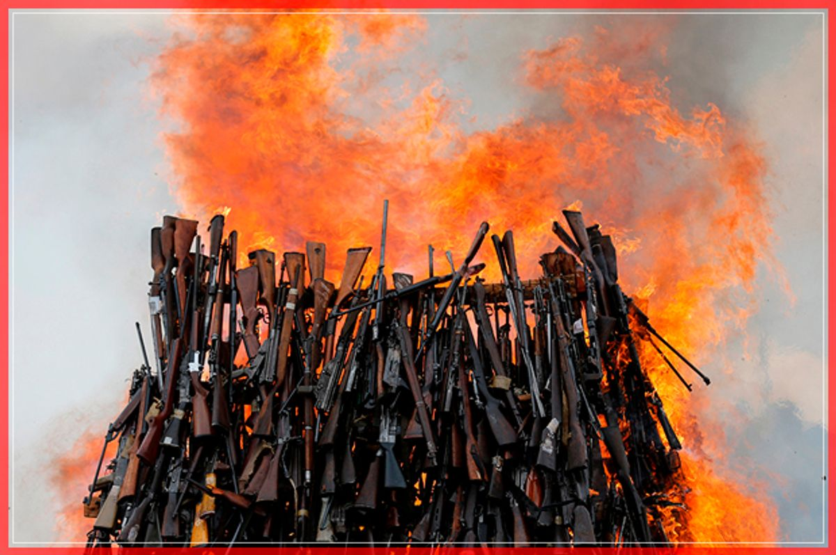 An assortment of 5250 illicit firearms and small weapons, recovered during various security operations burns during its destruction in Ngong hills near Kenya's capital Nairobi, November 15, 2016. REUTERS/Thomas Mukoya     TPX IMAGES OF THE DAY      - RTX2TS4A (Reuters)