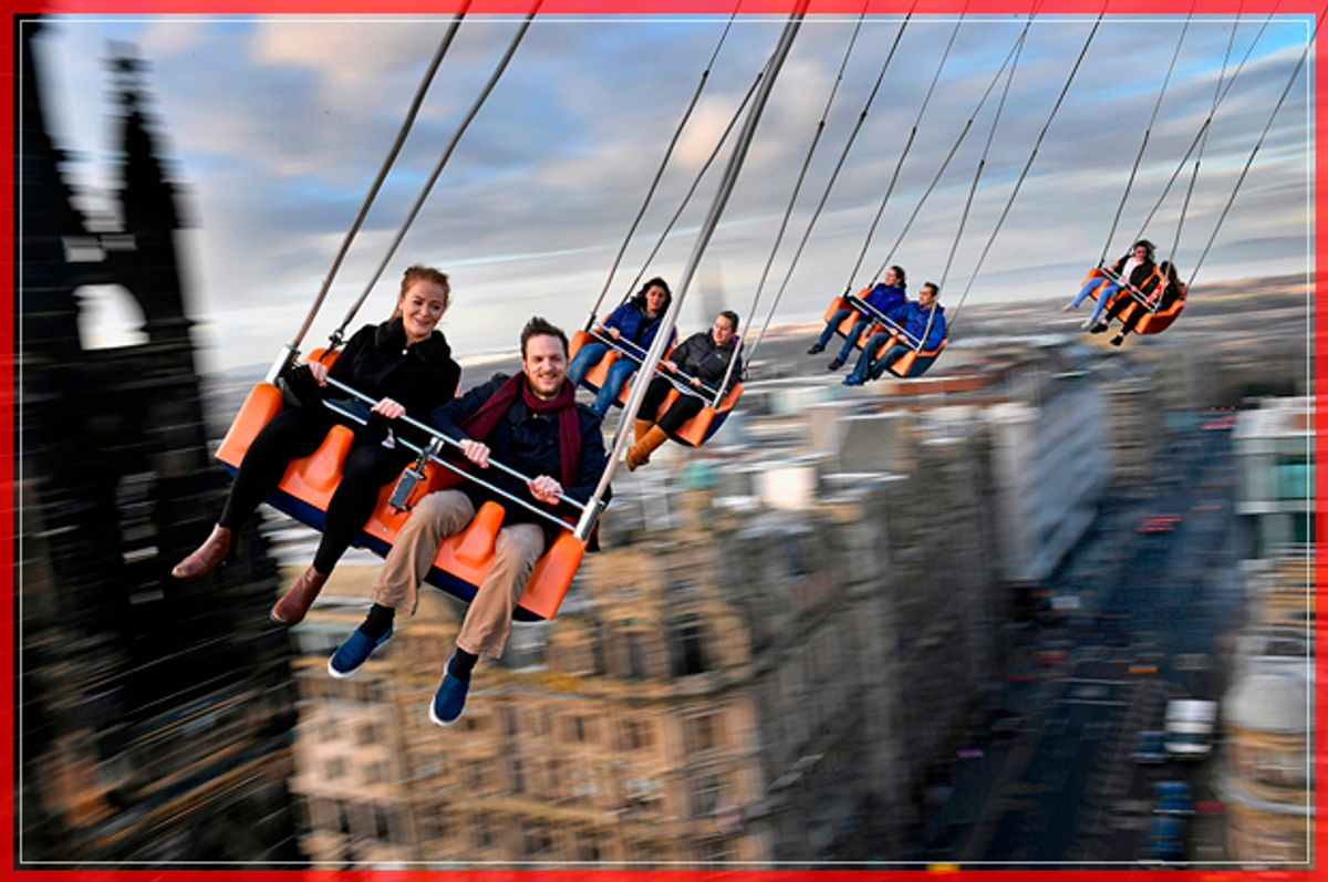 EDINBURGH, SCOTLAND - NOVEMBER 28:  Members of the public enjoy a ride on the star flyer on November 28, 2016 in Edinburgh, Scotland. The star flyer is one of a number of rides situated in Princes Street Gardens in Edinburgh along with an ice rink carousel and Big Wheel, open from late November and running until January 7, 2017.  (Photo by Jeff J Mitchell/Getty Images) (Getty Images)