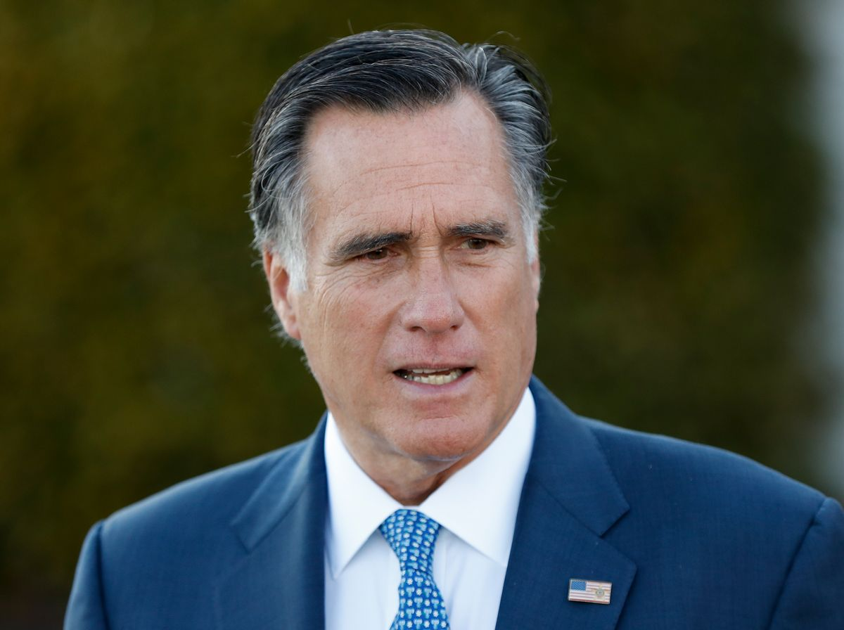 """FILE - In this Saturday, Nov. 19, 2016, file photo, Mitt Romney talks to media after meeting with President-elect Donald Trump at Trump National Golf Club Bedminster in Bedminster, N.J. Kellyanne Conway, a top Trump adviser warned Sunday, Nov. 27, that the president-elect's supporters would feel """"betrayed"""" if he tapped Romney as secretary of state, a move that would put a fierce Trump critic in a powerful Cabinet post. (AP Photo/Carolyn Kaster, File) (AP)"""
