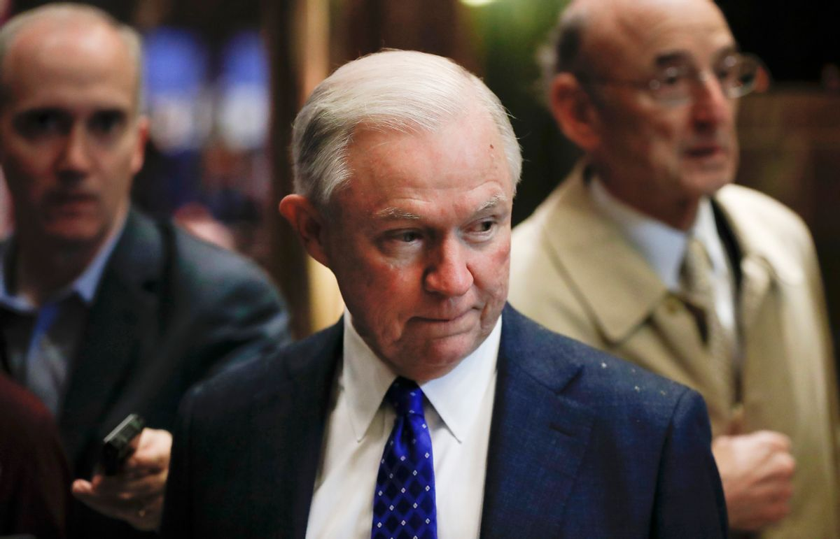 FILE - In this Nov. 15, 2016 file photo, Sen. Jeff Sessions, R-Ala., arrives at Trump Tower in New York. As one of President-elect Donald Trump's closest and most consistent allies, Sessions is a likely pick for a top post in his administration. But the last time Sessions faced Senate confirmation it didn't go well. (AP Photo/Carolyn Kaster, File) (AP)