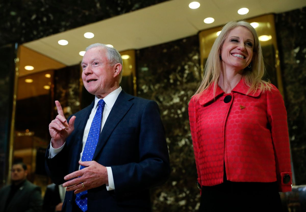 Sen. Jeff Sessions, R-Ala. and Kellyanne Conway, campaign manager for President-elect Donald Trump, speaks to reporters at Trump Tower in New York, Thursday, Nov. 17, 2016. (AP Photo/Carolyn Kaster) (AP Photo/Carolyn Kaster)