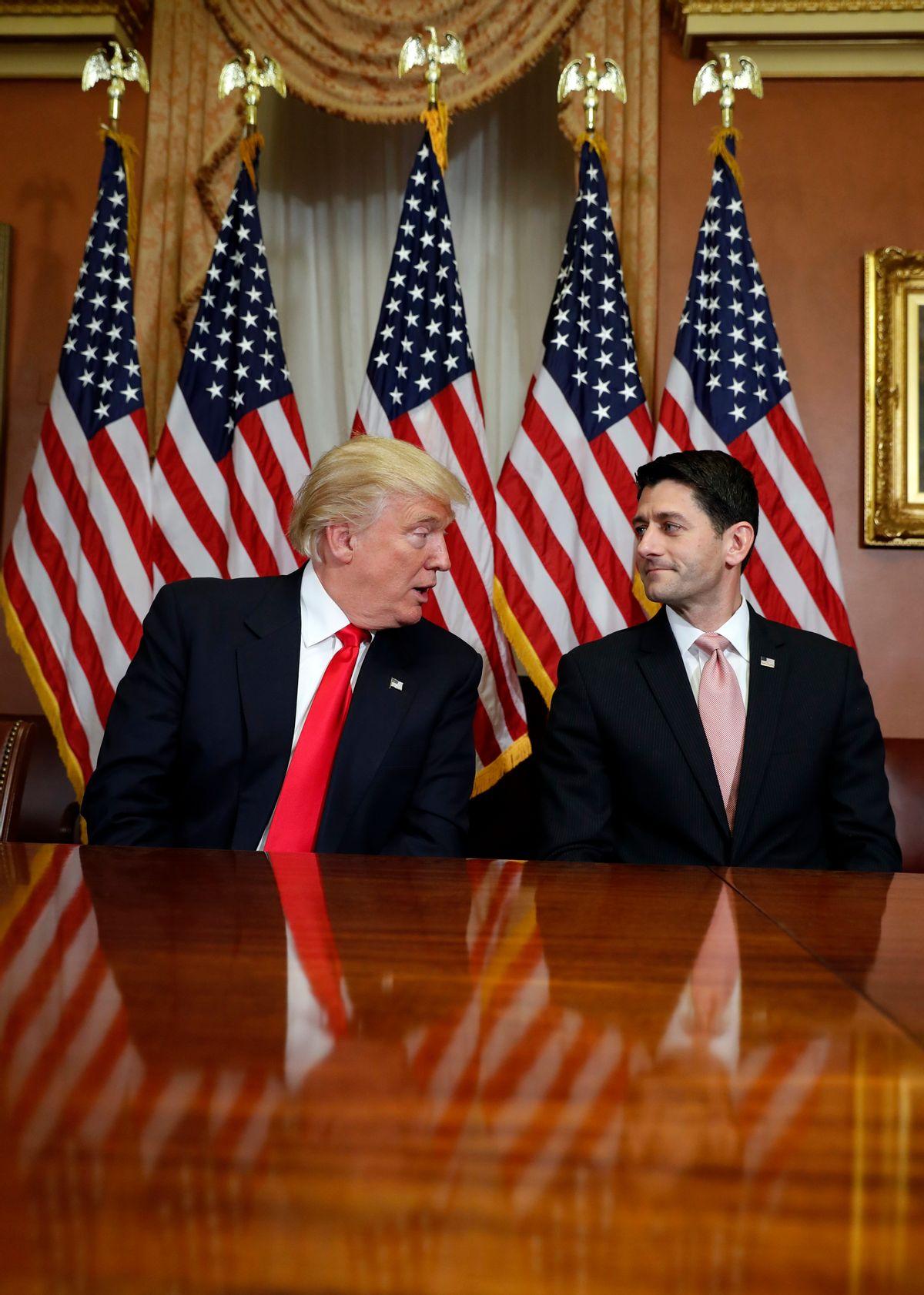President-elect Donald Trump talks with House Speaker Paul Ryan of Wis. on Capitol Hill in Washington, Thursday, Nov. 10, 2016. () (AP Photo/Alex Brandon)