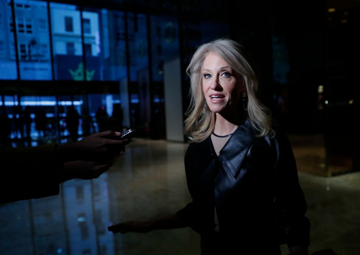 Kellyanne Conway speaks to media as she arrives at Trump Tower, Monday, Nov. 21, 2016 in New York. AP Photo/Carolyn Kaster) (AP)