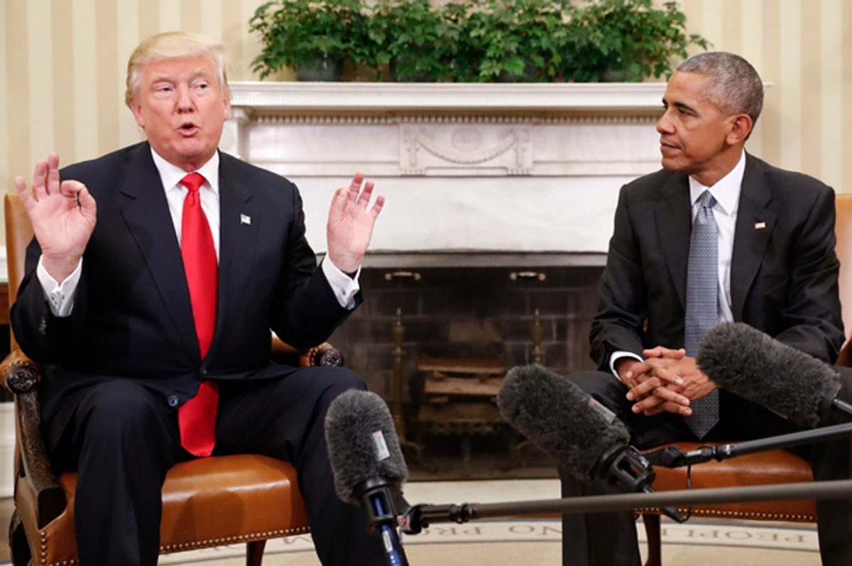Barack Obama and Donald Trump meet in the Oval Office, Nov. 10, 2016.    (AP/Pablo Martinez Monsivais)
