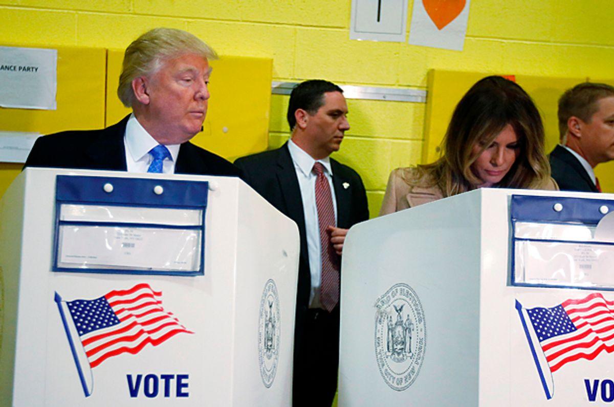 Donald Trump and Melania Trump vote at PS 59 in New York, New York, November 8, 2016.    (Reuters/Carlo Allegri)