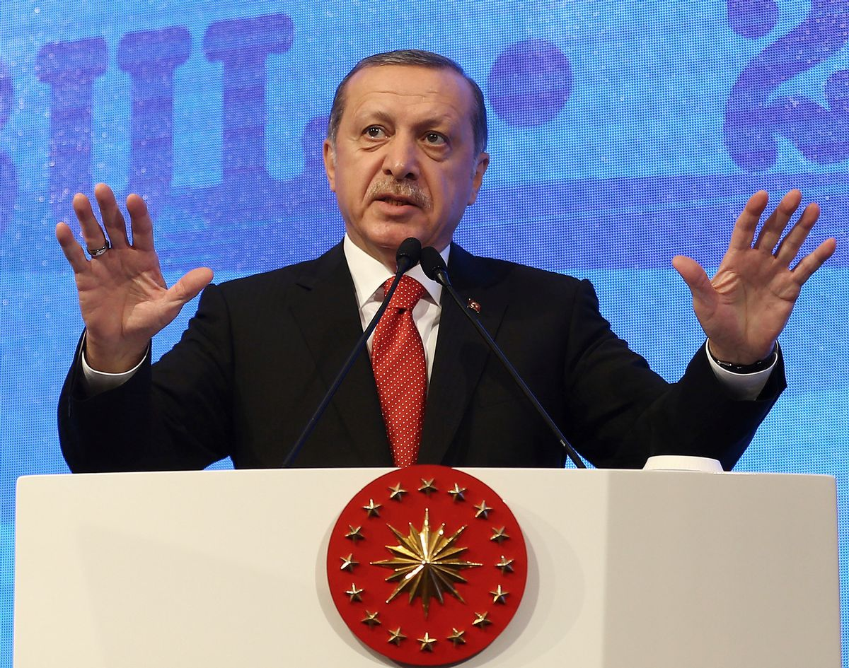 Turkey's President Recep Tayyip Erdogan addresses a NATO parliamentary assembly meeting in Istanbul, Monday, Nov. 21, 2016. Erdogan has called on the United States and other nations to re-assess his country's proposal for the creation of a no-fly zone in northern Syria. Addressing the NATO meeting, Erdogan again criticized allies' reliance on Syrian Kurdish fighters to battle the Islamic State group.(Kayhan Ozer, Presidential Press Service, Pool photo via AP) (AP)