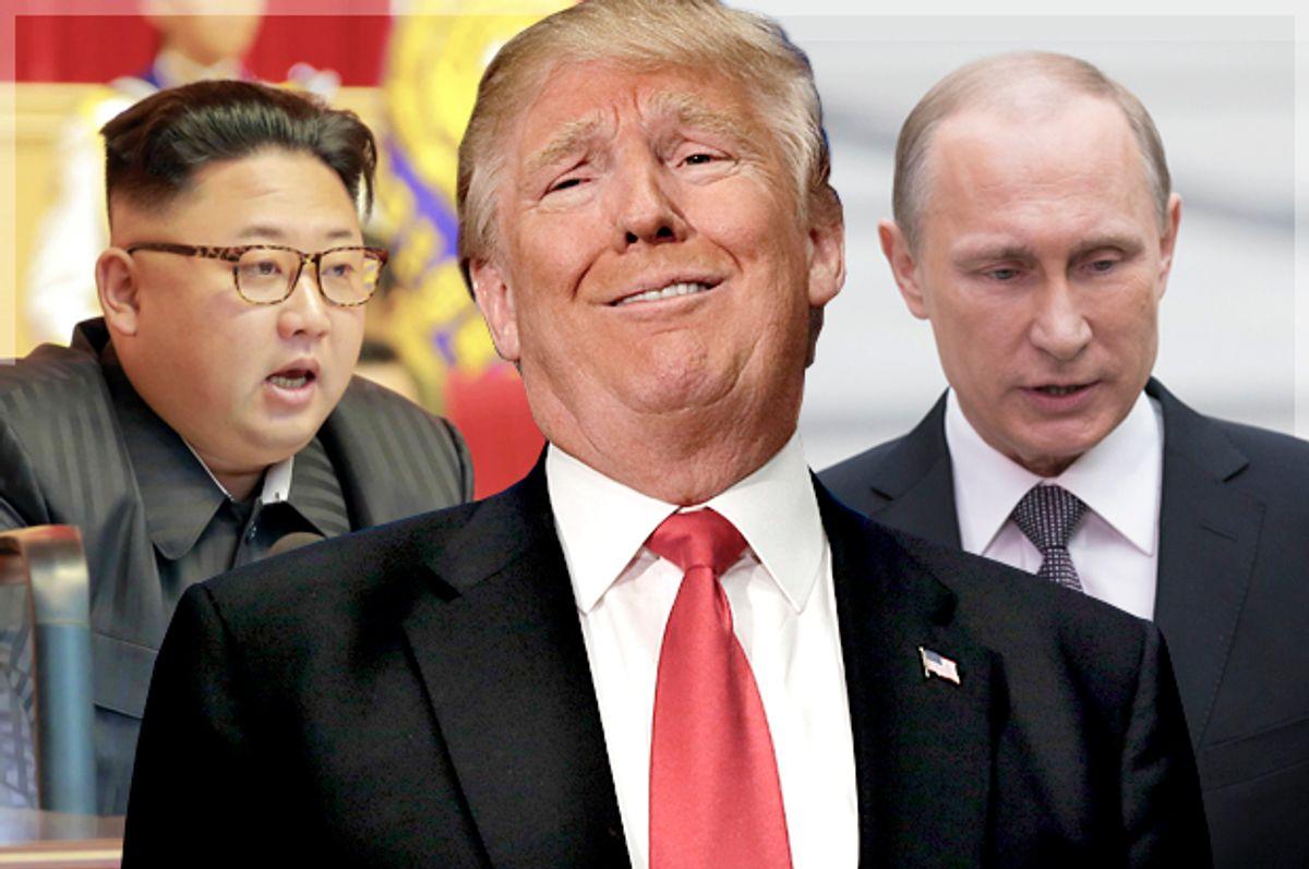 Kim Jong-un; Donald Trump; Vladimir Putin   (AP/Reuters/LM Otero/Alexander Zemlianichenko/Photo montage by Salon)