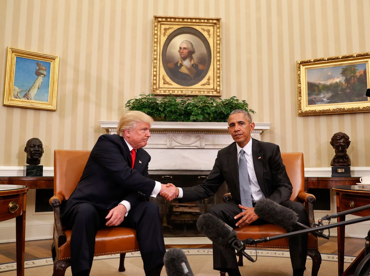 FILE - In this Thursday, Nov. 10, 2016 file photo, President Barack Obama and President-elect Donald Trump shake hands following their meeting in the Oval Office of the White House in Washington.  (AP)