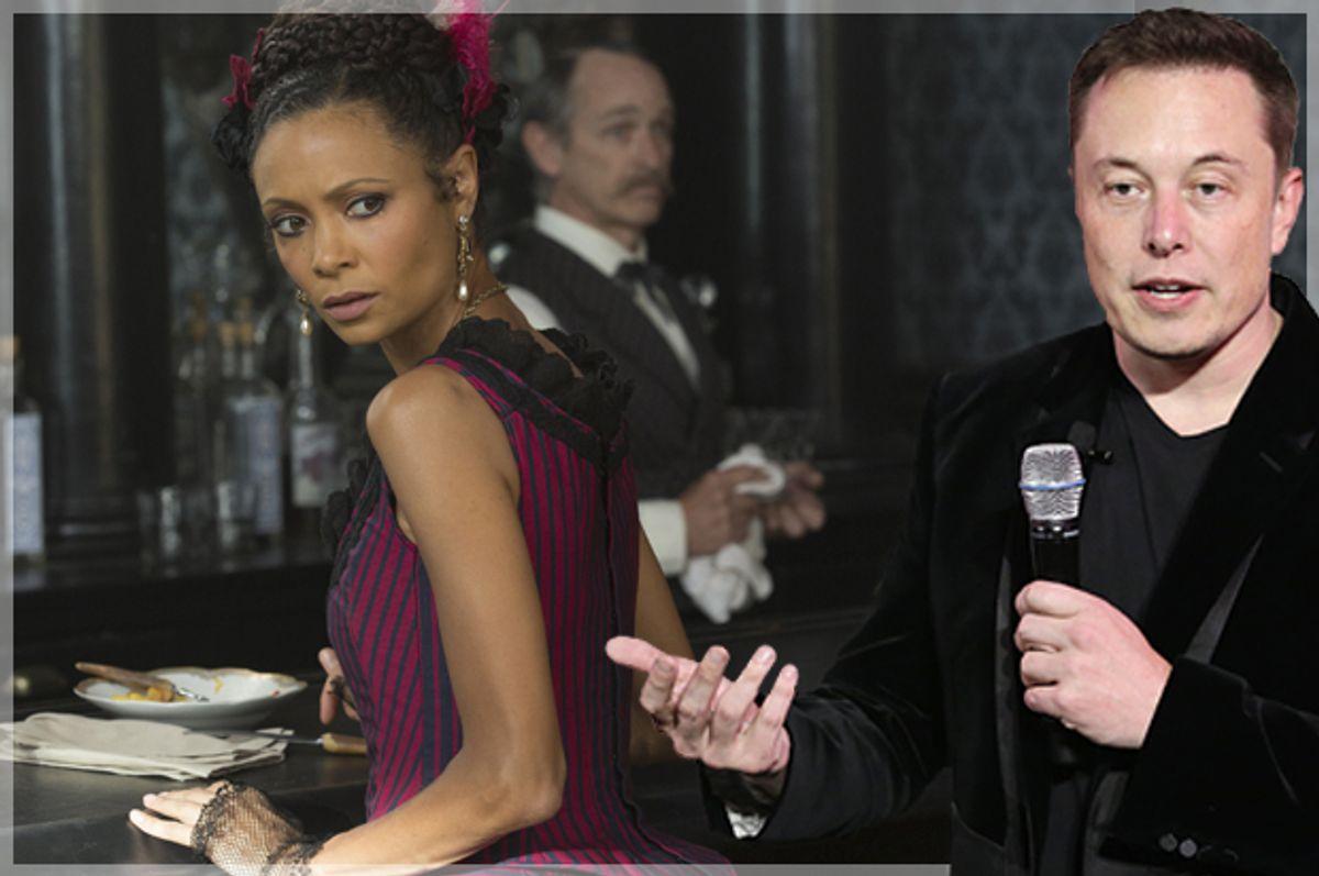 Thandie Newton in Westworld; Elon Musk (HBO/ John P. Johnson/AP/Marcio Jose Sanchez)
