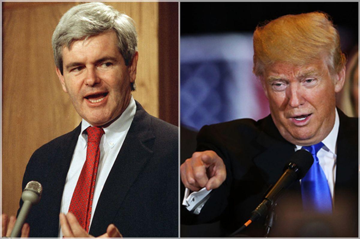 Newt Gingrich in 1989; Donald Trump   (AP/Duricka Getty/Spencer Platt)