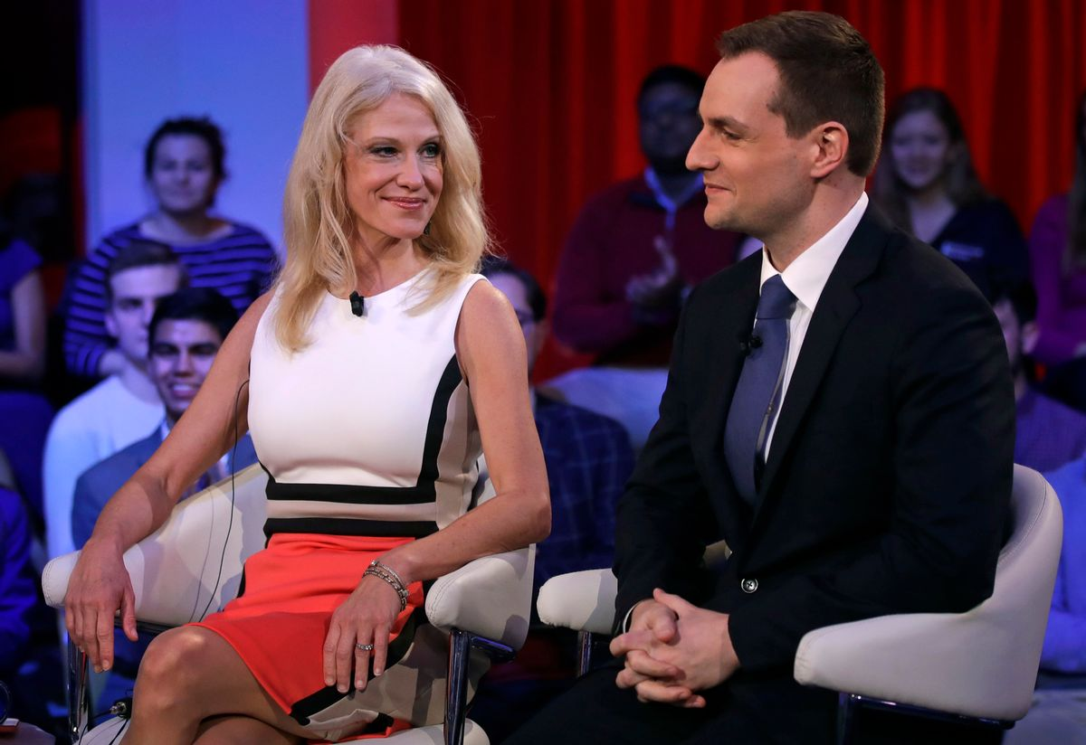 Kellyanne Conway, the campaign manager for Donald Trump, left, looks towards Robby Mook, the campaign manager for Hillary Clinton, prior to a forum at Harvard University's Kennedy School of Government in Cambridge, Mass., Thursday, Dec. 1, 2016. (AP)