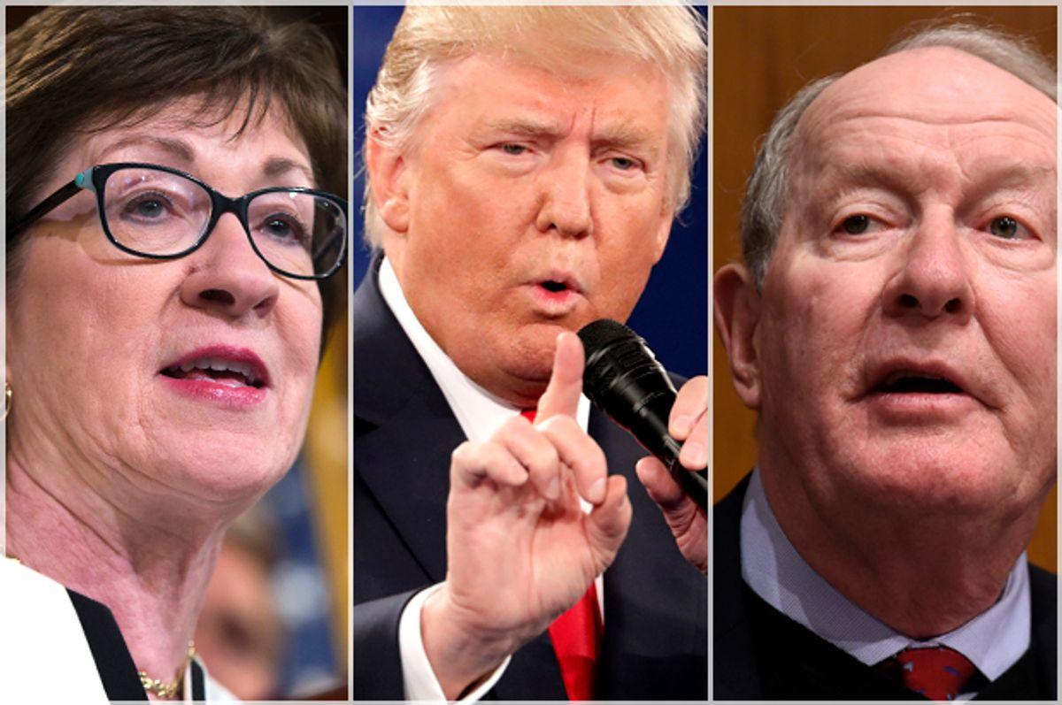 Susan Collins; Donald Trump; Lamar Alexander   (AP/Reuters/Evan Vucci/Jim Young/Susan Walsh)