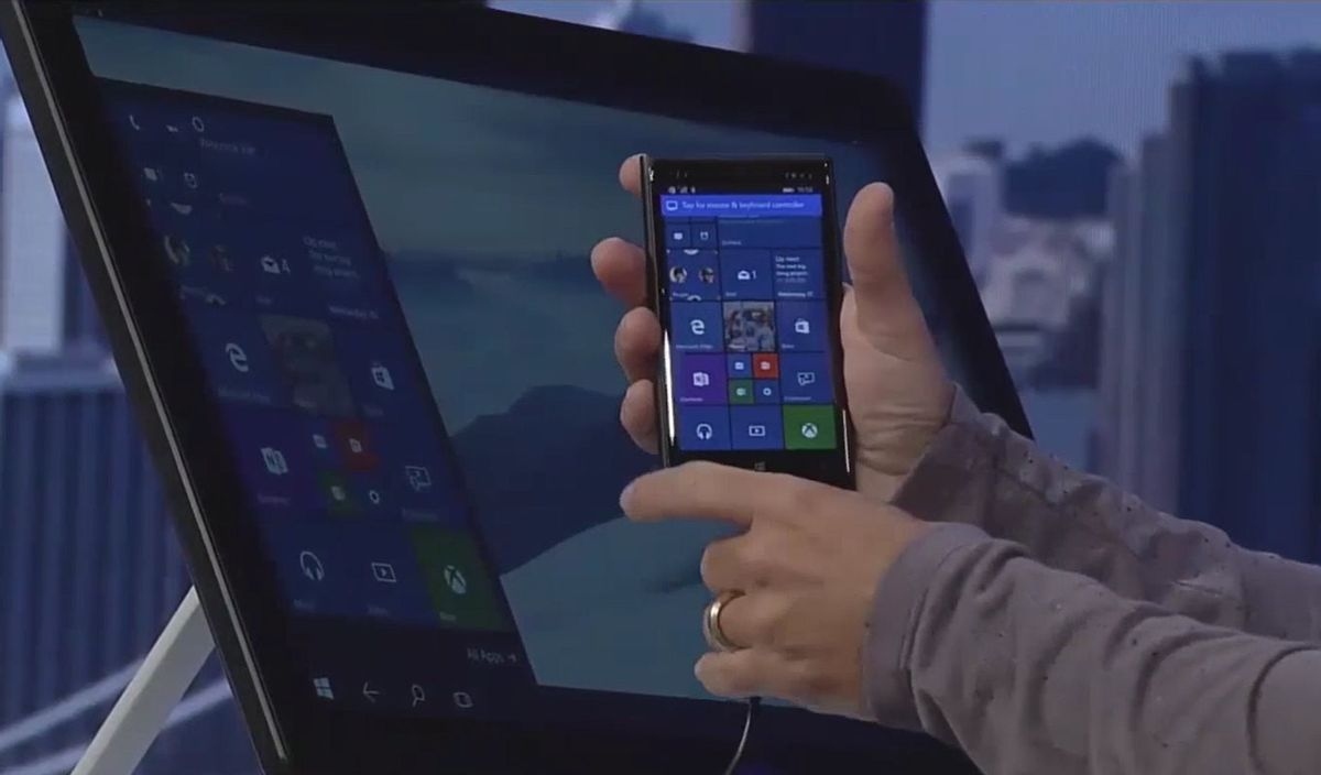 Microsoft's Continuum feature allows smartphones to power desktops and laptop computers.  (Picasa)