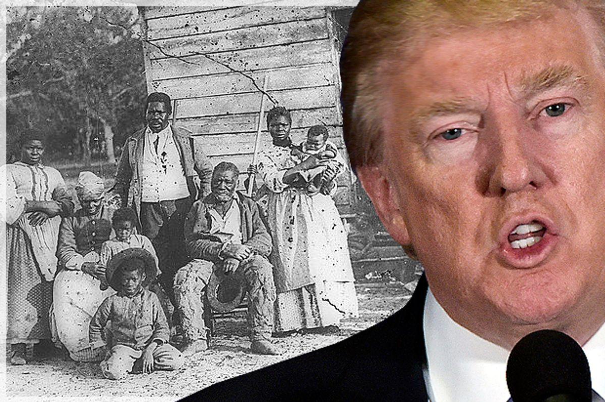 Donald Trump; Four generations of a slave family, Smith's Plantation, Beaufort, South Carolina, circa 1862.   (Getty/Mandel Ngan/Wikemedia)