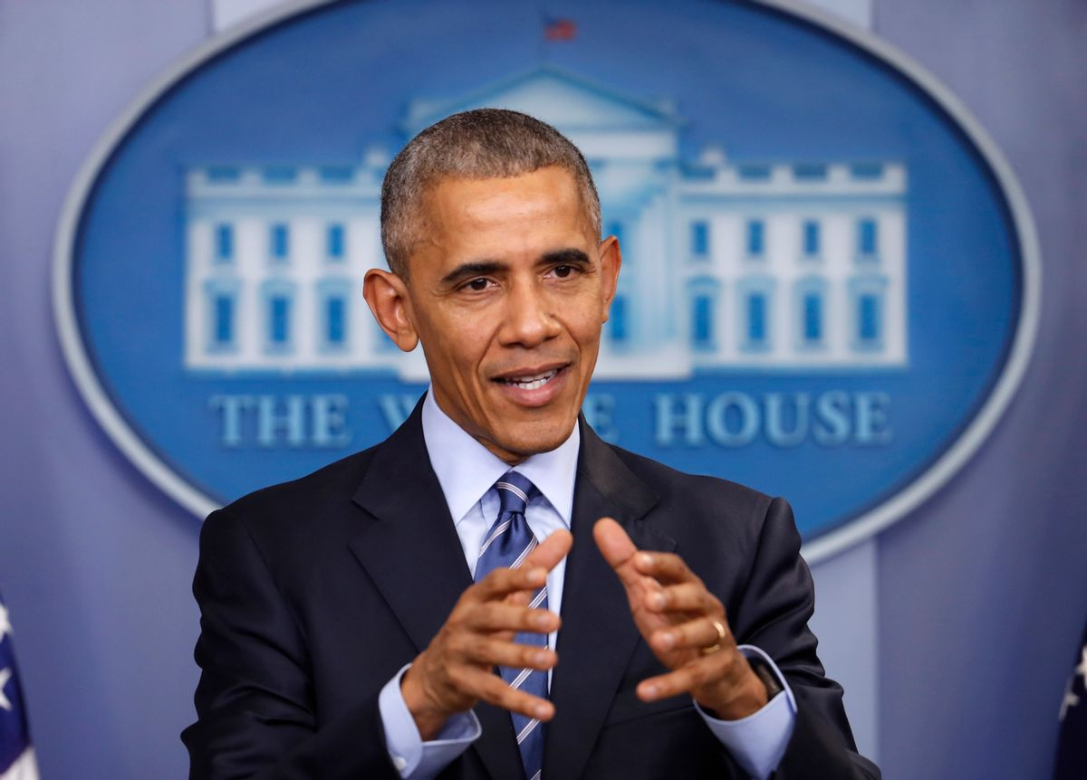 In this photo taken Dec. 16, 2016, President Barack Obama speaks during a news conference in the briefing room of the White House in Washington. President Barack Obama has imposed sanctions on Russian officials and intelligence services in retaliation for Russia's interference in the U.S. presidential election by hacking American political sites and email accounts. (AP Photo/Pablo Martinez Monsivais) (AP)