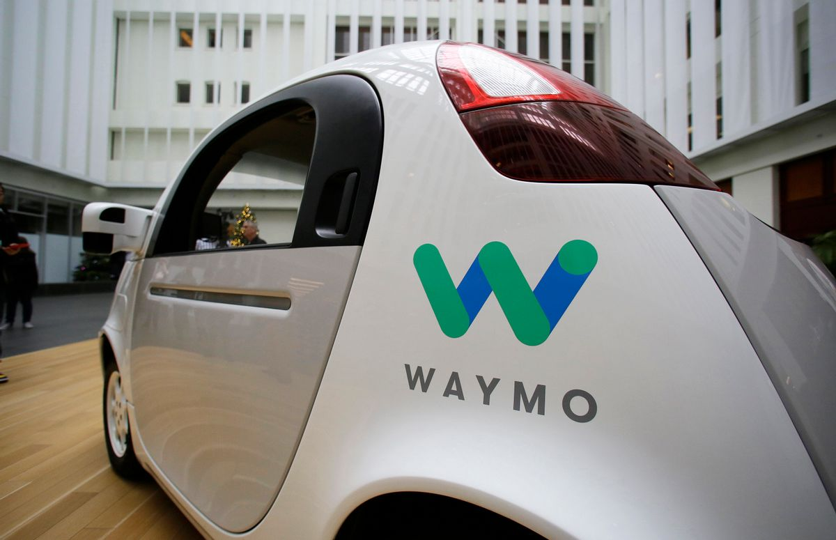 The Waymo driverless car is displayed during a Google event, Tuesday, Dec. 13, 2016, in San Francisco.  (AP Photo/Eric Risberg)