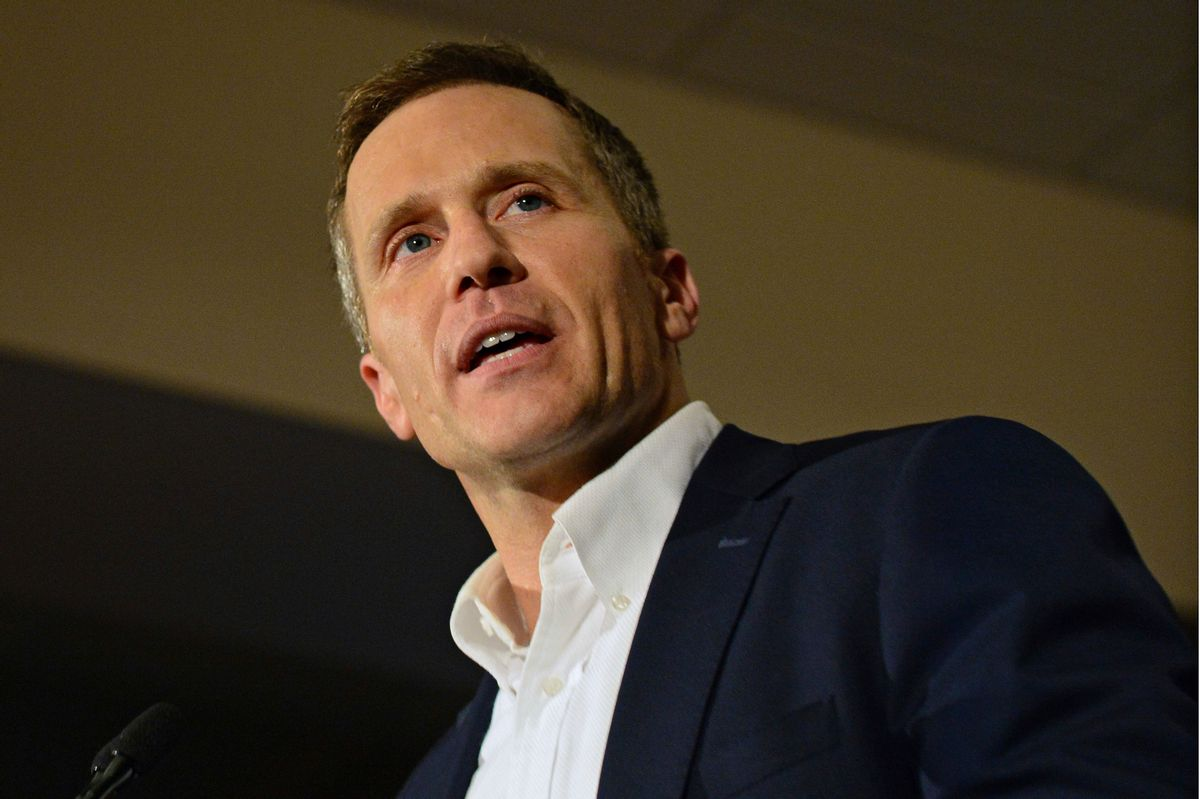 FILE - In this Nov. 8, 2016 file photo, Missouri Republican Governor-elect Eric Greitens delivers a victory speech in Chesterfield, Mo. Greitens, has promised to sign a right-to-work law when he gets into office. (AP Photo/Jeff Curry, File) (AP)