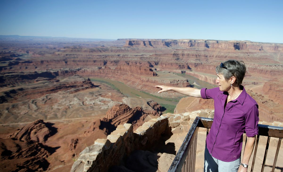 """FILE - This July 14, 2016, file photo, U.S. Interior Secretary Sally Jewell looks from Dead Horse Point, near Moab, Utah, during a tour to meet with proponents and opponents to the """"Bears Ears"""" monument proposal. President Barack Obama designated two national monuments Wednesday, Dec. 28, at sites in Utah and Nevada that have become key flashpoints over use of public land in the U.S. West. (AP Photo/Rick Bowmer, File) (AP)"""