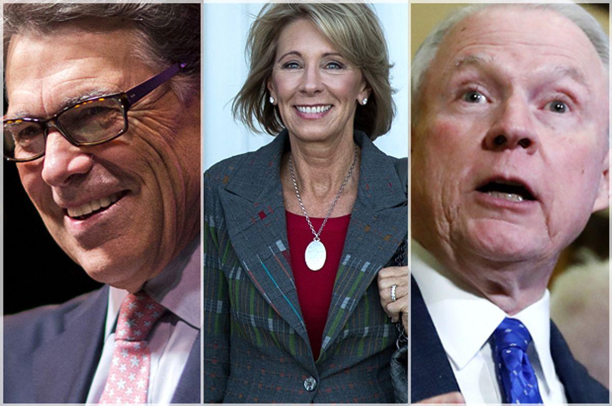 Rick Perry; Betsy DeVoes; Jeff Sessions   (AP/David Goldman/Getty/Drew Angerer/AP/Carolyn Kaster)