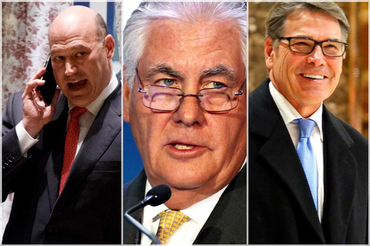 Gary Cohn; Rex Tillerson; Rick Perry   (AP/Kathy Willens)