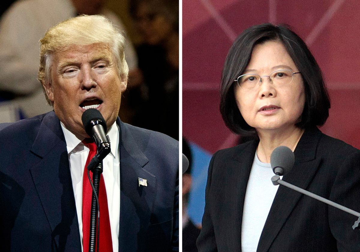 """FILE - This combination of two photos shows U.S. President-elect Donald Trump, left, speaking during a """"USA Thank You"""" tour event in Cincinatti Thursday, Dec. 1, 2016, and Taiwan's President Tsai Ing-wen, delivering a speech during National Day celebrations in Taipei, Taiwan, Monday, Oct. 10, 2016. Trump spoke Friday, Dec. 2, with Tsai, a move that will be sure to anger China. (AP Photo/Evan Vucci, Chinag Ying-ying, File) (AP)"""