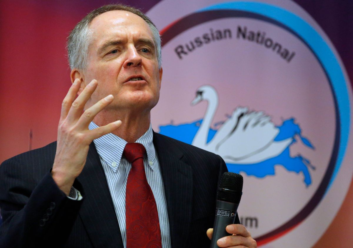 """FILE - In a March 22, 2015 file photo, U.S. writer Jared Taylor, author of the book """"White Identity"""" speaks during the International Russian Conservative Forum in St.Petersburg, Russia. Taylor, a Yale University-educated, self-described """"race realist, """" runs the New Century Foundation. The federal government has allowed four groups at the forefront of the white nationalist movement, including the New Century Foundation, to register as charities and raise more than $7.8 million in tax-deductible donations over the past decade, according to an Associated Press review. (AP Photo/Dmitry Lovetsky, File) (AP)"""