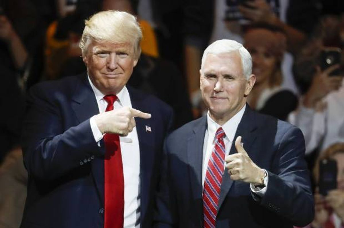 President-elect Donald Trump, left, and Vice President-elect Mike Pence  (AP Photo/John Minchillo)