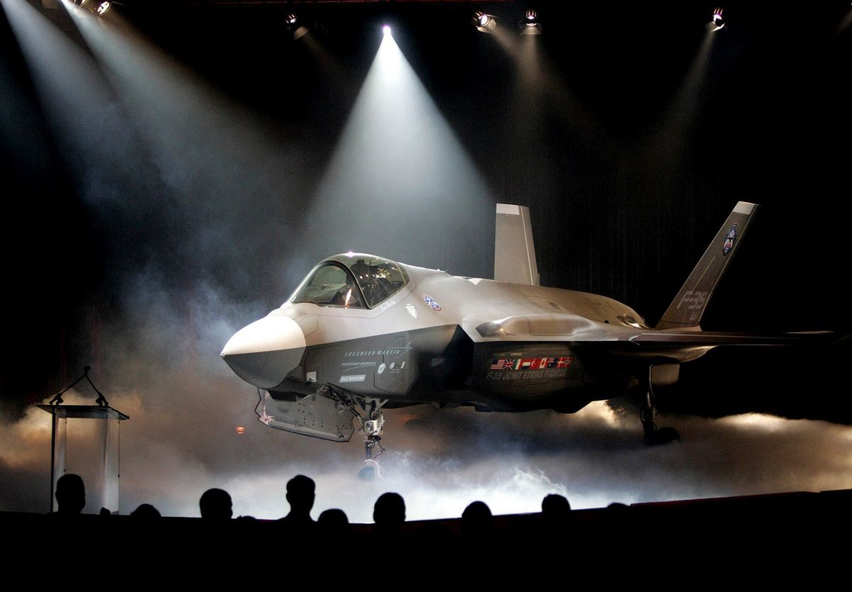 FILE - In this July 7, 2006, file photo, the Lockheed Martin F-35 Joint Strike Fighter is shown after it was unveiled in a ceremony in Fort Worth, Texas.  (AP Photo/LM Otero, File) (AP)