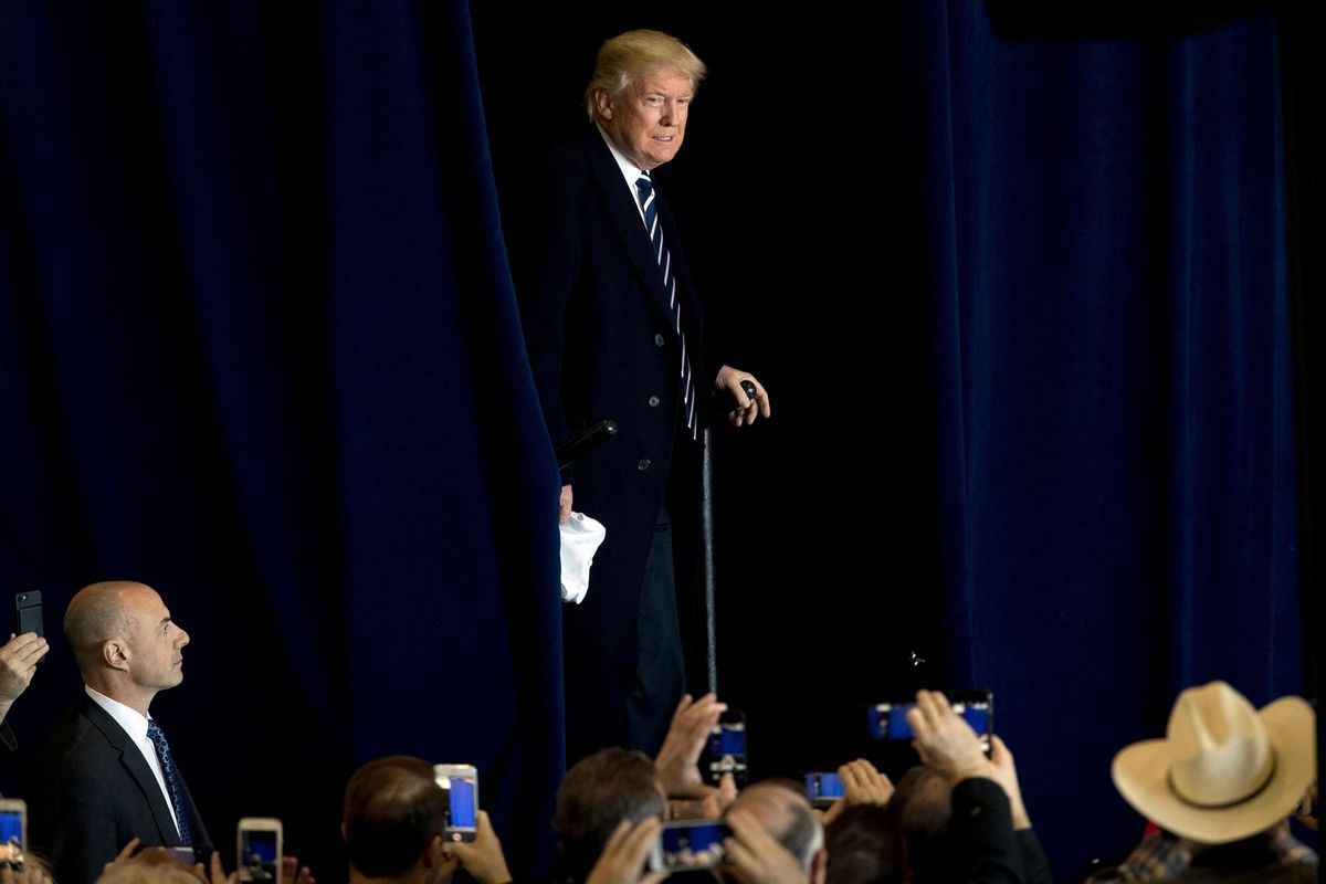 President-elect Donald Trump arrives for a rally in a DOW Chemical Hanger at Baton Rouge Metropolitan Airport, Friday, Dec. 9, 2016, in Baton Rouge, La. (AP Photo/Andrew Harnik) (AP)