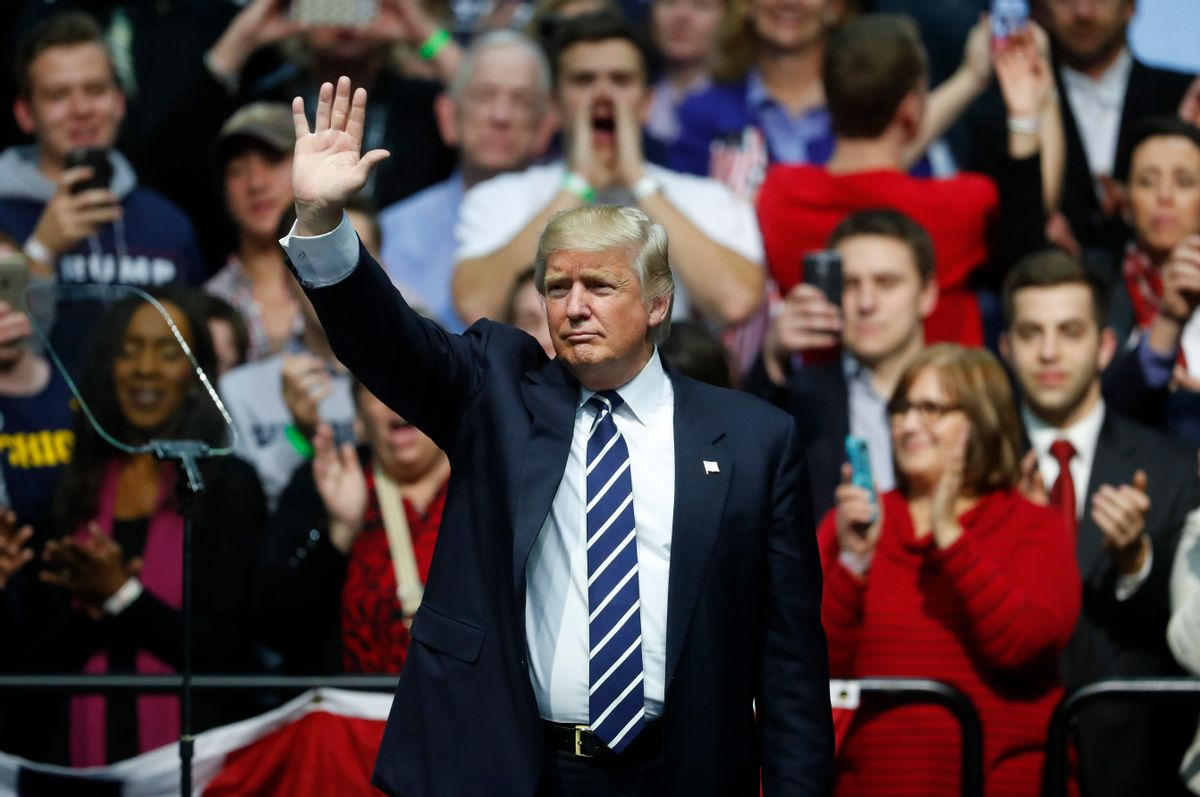 President-elect Donald Trump waves to supporters during a rally in Grand Rapids, Mich., Friday, Dec. 9, 2016.  (AP)