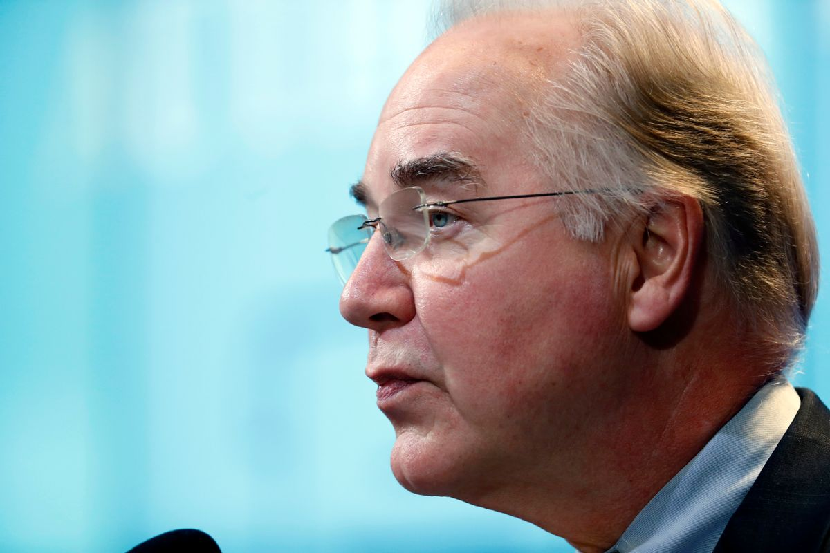 FILE - In this Nov. 30, 2016 file photo, Health and Human Services Secretary-designate, Rep. Tom Price, R-Ga. speaks in Washington. Propelled by populist energy, President-elect Donald Trump's candidacy broke long-standing conventions and his incoming Cabinet embodies a sharp turn from the outgoing Obama administration. (AP Photo/Alex Brandon, File) (AP)