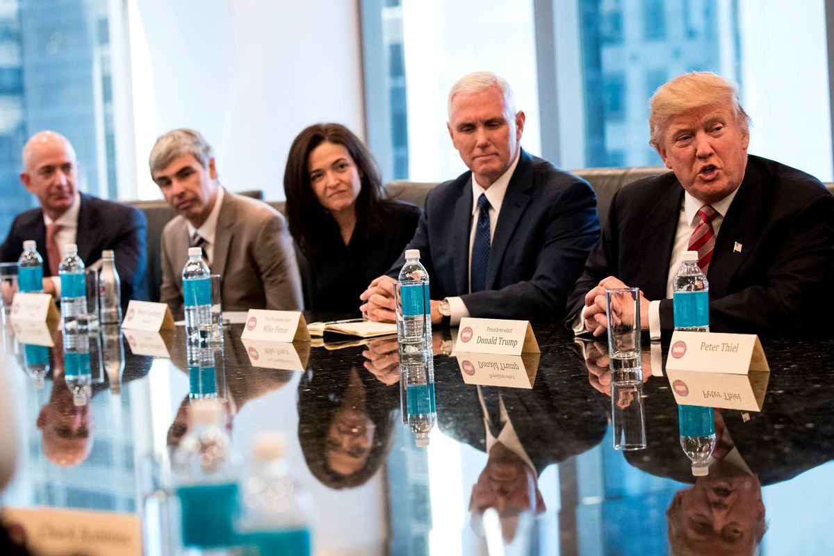 Jeff Bezos, chief executive officer of Amazon, Larry Page, chief executive officer of Alphabet Inc. (parent company of Google), Sheryl Sandberg, chief operating officer of Facebook,  Mike Pence and Donald Trump (Getty/Drew Angerer)