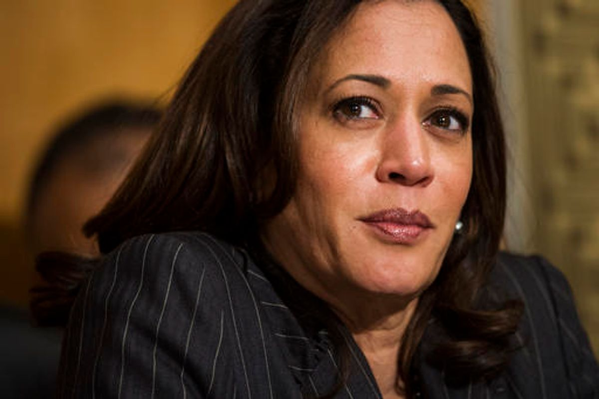 Sen. Kamala Harris, D-Calif., listens as Retired Marine Gen. John F. Kelly testifies during the Senate Homeland Security Committee hearing on his confirmation to be Secretary of Homeland Security on Capitol Hill in Washington, Tuesday, Jan. 10, 2017. (AP Photo/Cliff Owen) (AP)