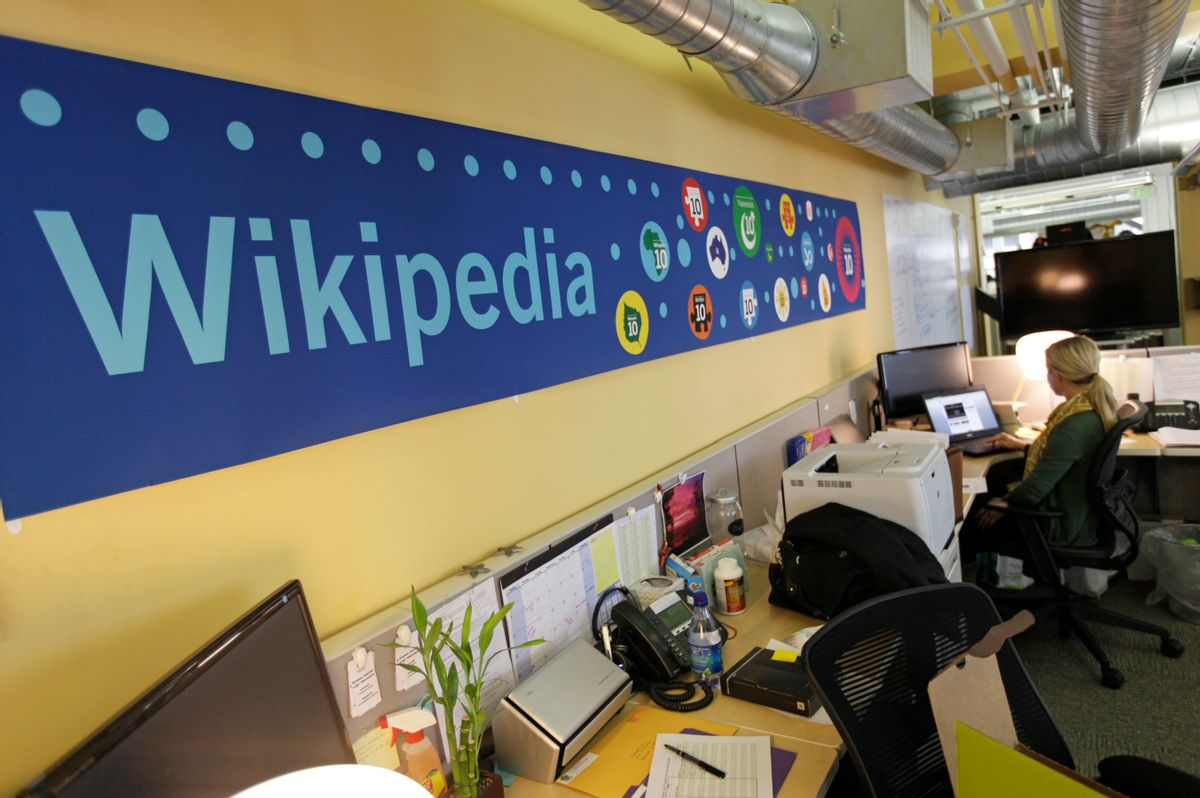FILE - In this  Jan. 18, 2012, file photo, Mallory Whitt works at her desk at the offices of the Wikipedia Foundation in San Francisco. The foundation announced on Jan. 26, 2017, that Craigslist founder Craig Newmark is donating $500,000 to help curb harassment on Wikipedia. (AP Photo/Eric Risberg, File) (AP)