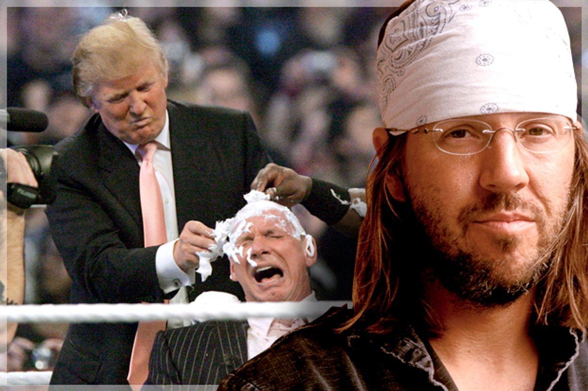 Donald Trump shaves the head of Vince McMahon at Wrestlemania 23, April 1, 2007; David Foster Wallace (AP/Carlos Osorio/Hachette/Salon)